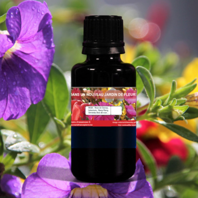d'huiles essentielles : dans un jardin de fleurs